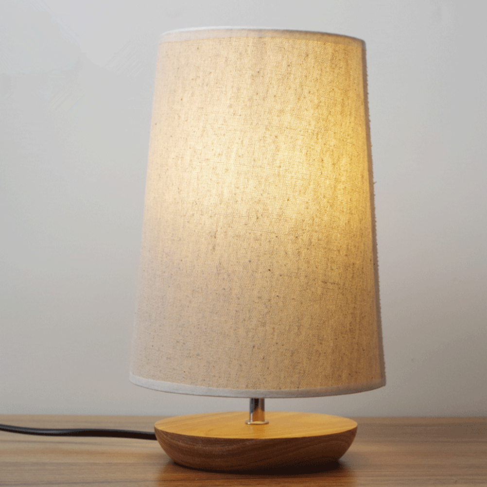 LED Desk Lamp With Linen Shade and Solid Wood for Bedroom Baby Room Coffee Table (US Plug)<br><br>Aliexpress