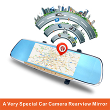 New Android Car Rear View Mirror with 7 Inch capacitive touch screen GPS Navigation built in Rotatable Dash Camera(China)