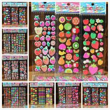 10pcs/lot mixing pattern Fashion Brand Kids Toys Cartoon 3D Stickers Children girls boys PVC Stickers Bubble Stickers(China)