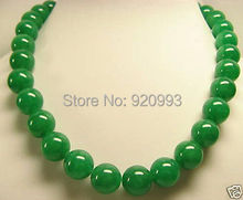 "Wholesale&FREE P&P**Beautiful GREEN Natural stone 12mm Beads Necklace 18""AAA+G+R+ET+Y"