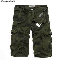 Ouekanlysian New Mens Camo Cargo Shorts Camouflage Military Overalls Joggers Active Loose Pockets bermuda Shorts Homme Size 38(China)