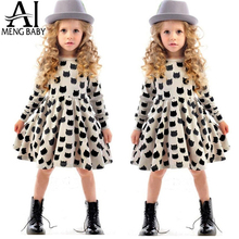 Baby Girl Winter Autumn Clothig For Kids Casual Wear Baby Frock Designs Brand Girl Black Kitty Cats Pattern Clothes School Dress