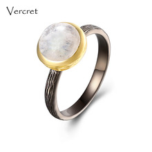 Vercret rainbow moonstone rings handmade 925 sterling silver 18k gold ring jewelry for women gifts sp(China)