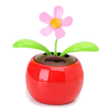 Flip Flap Solar Powered Flower Flowerpot Swing Dancing Toy Novelty Home Ornament - Red