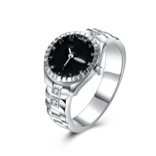 Christmas gift for women girl Watch style ring Lovely Wedding party silver plated ring Cute noble fashion classic Jewelry R887