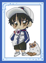 The Tennis Prince with fat cat Canvas DMC Counted Cross Stitch Kits printed Cross-stitch set Embroidery Needlework(China)