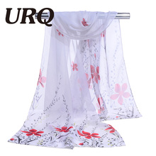 chiffon scarf print flower women's scarf bandana spring and autumn fashion slik scarf summer patterns sunscreen cape 2017 hot(China)