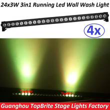 4xLot Led Wall Washer Lights 24x3W RGB 3IN1 Led Light Bar Running Horse Funtion Dmx Dj Disco Party Show Effect Stage Projectors(China)