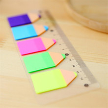 Kawaii Candy Color Pencil Stub Memo Pad Sticky Notes Post It Page Flag Index With 15 Cm Rulers Bookmark School Supplies(China)