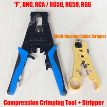 F BNC RCA Crimping Tool & Cable Stripping Stripper RG58 RG59 RG6/7/11 75-3/4/5 Compressed Crimper UTP STP RJ45/11 Wire 5082R