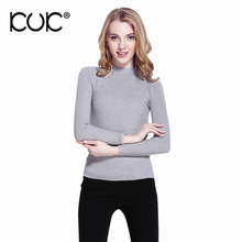 Kuk 12 Color Fashion Women Sweater High Elastic Solid Cashmere Christmas Sweater Turtleneck Lady Knitwear Pullover A054