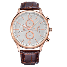 EFFORT Brand Men Luxury Leather Strap Rose Gold Case 6 Hands Sports Relogio Male Hours Chronograph Waterproof Wrist Quartz Watch