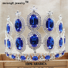 zerongE jewelry 5.2inch colorful crystal tiara crown royay blue woment carnival party decoration hair band crown tiara(China)