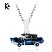 Hp Weasley Blue Flying Car Enamel Pendant Hogwarts Magic School Magic Car Accessories Metal Necklace Toys Gift for Kids Gift(China)