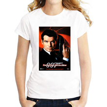 Women's Summer Tops James Bond 007 T Shirts Funny Letters Tomorrow Never Dies Tees Punk T-shirt(China)
