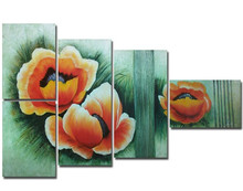 Modern Acrylic Floral Paintings on Green Canvas Hand Painted Flower Oil Painting Home Decor Wall Art 5 Panel Artwork Pictures