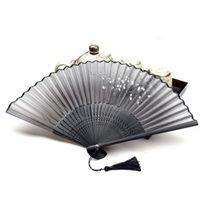 Chinese Folding Hand Fan Home Decor Silk Bamboo Flower Butterfly Pocket Fan(China)