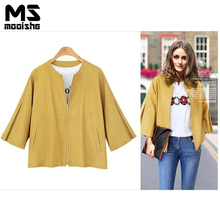 Mooishe Autumn Casual Women Jacket Coat Quarter Sleeve Oversize Basic Flax Coat Yellow White Loose Outwear Plus Size 3xl(China)