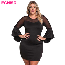 EGNMC Plus Size Flare Sleeve Lace Hollow Out Women Lady Dress Transparent Autumn Summer Ergonomic Dresses(China)