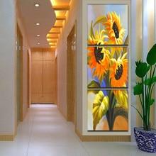 Триптих diamond Вышивка подсолнечное поделки алмазов картина 3d вышивки крестом 5D Стразы живопись Домашний Декор bk-2674(China)