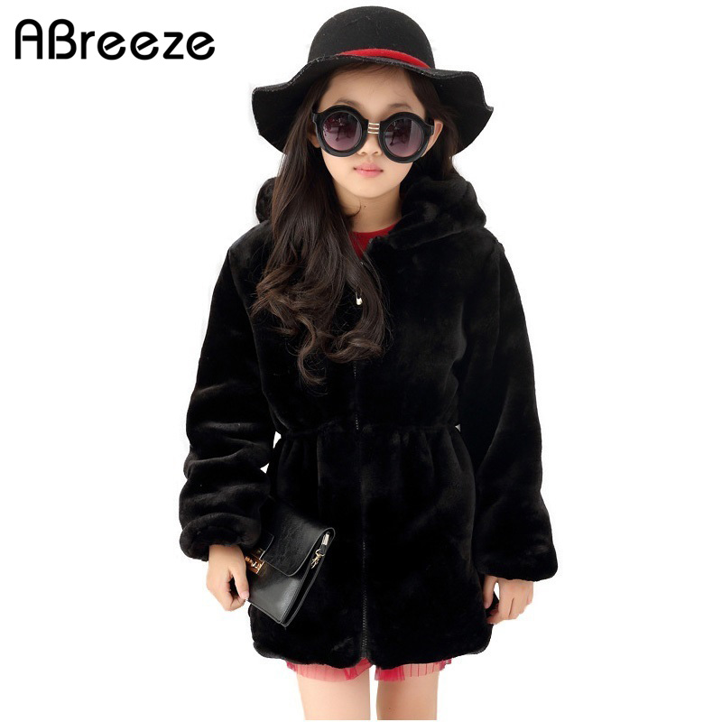 Size 130-160 12 years teenage girls clothing 2017 Winter new fashion black/beige quality girls faux fur coat hooded long coats<br>