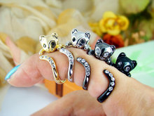 Kitty Cat Ring Crystals Adjustable Free Size Wrap Ring Kitten Gift Idea--12pcs/Lot ( 5 Colors Free Collocation )