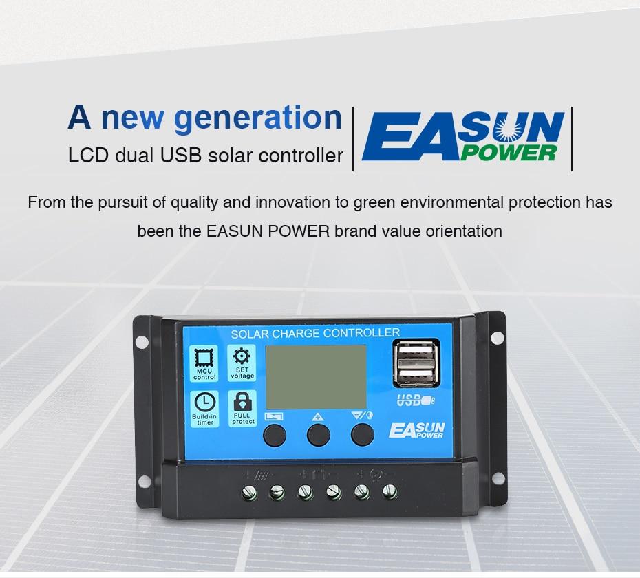EASUN POWER Solar Controller 12V 24V 30A 20A 10A Solar Regulator PWM Solar Panel Battery Charger LCD Display Dual USB 5V Output DES-3