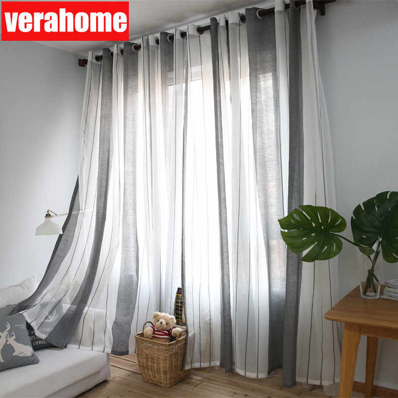 Nordic morden tulle  window white black striped curtains sheers for living room bedroom screen home decoration