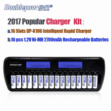 16 Slots Doublepow DP-K106 2-LCD Buit-In IC Protection intelligent Rapid charger + 16pcs 1.2V 2700mA Ni-MH rechargeable batterie