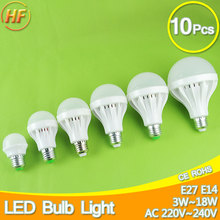 10PCS Wholesale E27 LED Bulb Lamp 220v led 3W 5W 7W 9W 12W led light Bulb 15W 18W Lampara Bombilla Ampoule spotlight SMD 5630(China)