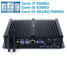 Fanless Mini PC Core i7 5550U i3 4010U 5005U i5 4200U Micro Windows Industrial PC With 2*RS232 COM Server Computer Nettop