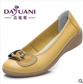 2014 Genuine Leather Fashion Wedges Dance Shoes Casual Comfortable Womens Flats Shoes Wholesale Low Price<br><br>Aliexpress