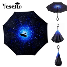 Yesello Blue Sky Reverse Folding Double Layer Inverted Umbrella Self Stand Inside Out Rain Protection Long C-Hook Hands For Car