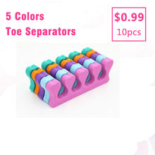 5 Pair/10pcs Mixed Color Soft Sponge Foam Finger Toe Separator Nail Art Salon Pedicure Manicure Tool Feet Care