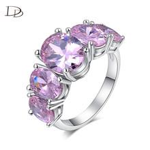boho pink large big multi crystal stone girls knuckle finger rings silver color cz dianmod ring for women female jewelry HH159(China)