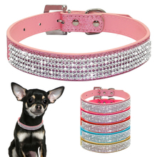Bling Diamante Rhinestone PU Leather Cat Dog Collars Pink for Small Medium Dogs Chihuahua Yorkie 5 Colors Size XS S M L(China)