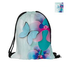 Turquoise Orchid And Butterfly Printing Drawstring Backpack Green Fashion Polyester Bags For Women Men Child Pouch Backpacks(China)
