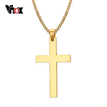 "Vnox 24"" Men's Stainless Steel Cuban Chain Necklace Simple Cross Gold-Color/Black/Silver Color Pendant(China)"
