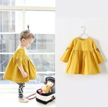 New Cotton Girl Dress Casual Knee length Solid Long Sleeve Kids Dresses for Girls Yellow Baby Girl Dress Spring Fall 2017 HOT