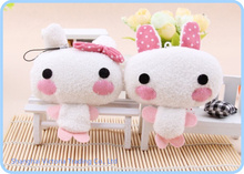 Super Cute 8*7CM Lover Rabbit Plush Stuffed TOY DOLL ; Cell Phone Charm Strap Lanyard Pendant ; BAG Key Chain(China)