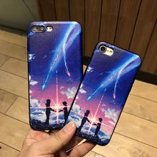 "New Arrival Japanese Anime ""Your name"" Quadratic Element Phone Case For iphone 6 6s Plus 7 7Plus Protective Silicon Back Cover"