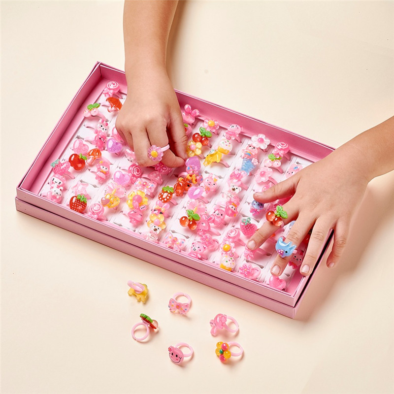 Day-Jewelry Kids Ring Gifts Fruit Animal Plastic Girls Children's 100pcs/Box with Mixed-Color title=