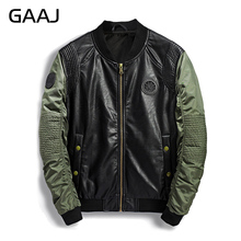 2017 Military Bomber Jacket Men Camo Winter pu Leather Denim Camouflage Army Hip Hop Jean Biker Jackets Pilot For Men's Coat(China)
