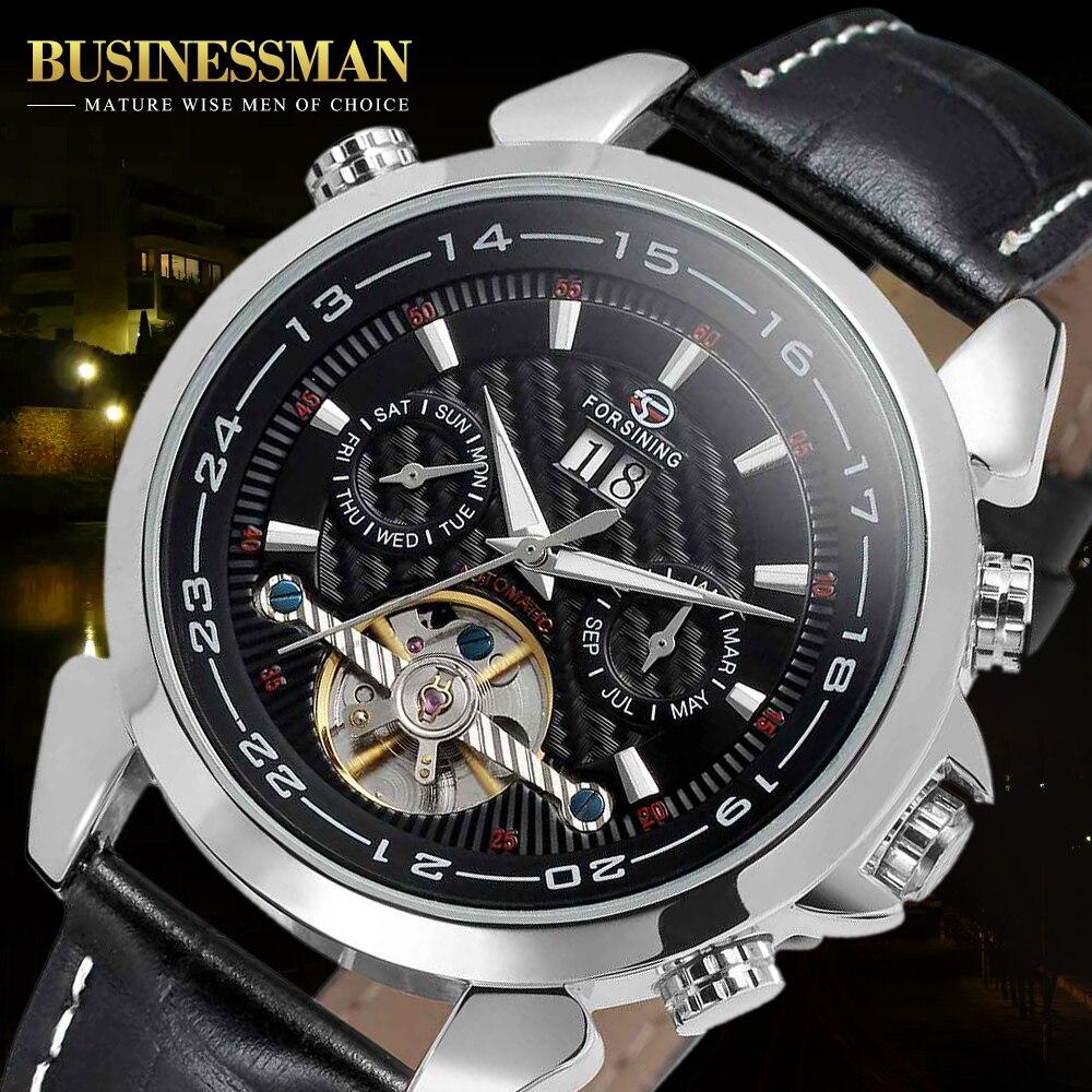 Forsining Mens Watch Automatic Self-Wind Black Genuine Leather Strap Classic Wristwatch FS057M3 Gift Box Relogio masculino<br>