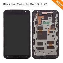 Black For Motorola Moto X2 Xt1092 Xt1095 Xt1097 LCD Display Touch Screen with Digitizer Bezel Frame Assembly