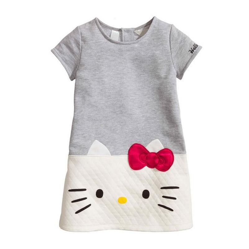 HOT Baby Girls Clothing Hello Kitty 2017 Summer Brand Children Dresses For Girls Princess Dress Cut Cat Grey White Kids Clothes(China (Mainland))