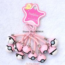 Hot sell 50 pcs fashion popular women girl Cell Phone Charm Strap JINGLE BELLS Dangle Figures pink