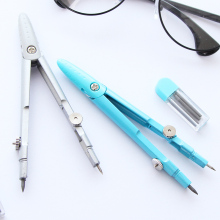1 Piece Student Drawing Compass Math Geometry Tools, With Pencil Lead, Blue and Sliver Color(China)
