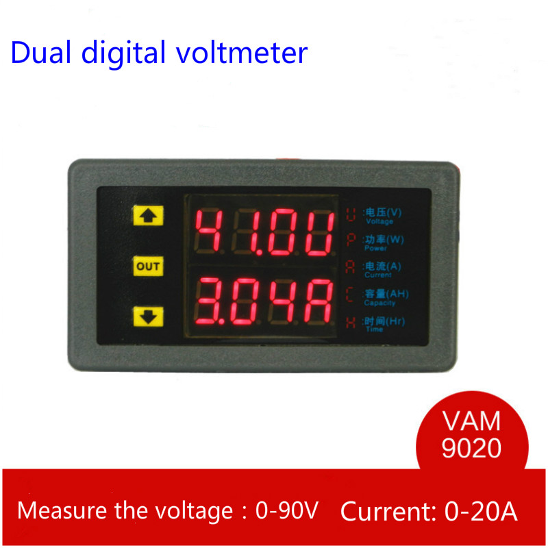 VAM9020 Multifunction Dual LED Digital Display DC Voltage Ammeter Power Meter Capacity Table For Hydropower Engineering<br><br>Aliexpress