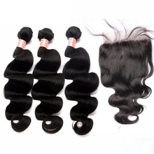 Brazilian Virgin Hair With Closure 4Pcs/Lot Body Wave Human Hair Bundles With 5x5 Lace Closure Honey Queen Hair Products(China)